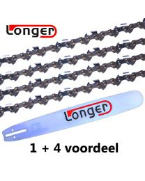"1 + 4 combinatie set 50cm 3/8"" 1,5mm Longer (Hardnose, 72E)"