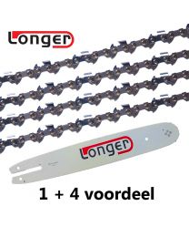 "1 + 4 combinatie set 40cm 3/8""LP 1,3mm Longer (55E)"