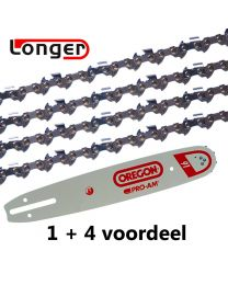 "1 + 4 combinatie set 40cm 3/8""LP 1,3mm Oregon (55E)"